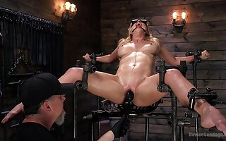 Obedient blonde screams in salaciousness while dominant man devours her holes