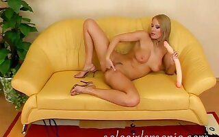 Czech Blonde Masturbating Huge Dildo