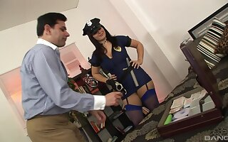 Fake female policeman wants a piece of this man's hard wood