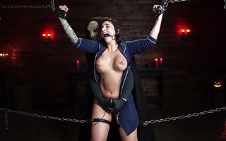 Submissive babe plays in far-out BDSM thing with masked master