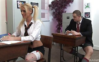Shocking classroom group bang featuring Cate Harrington with the addition of Antonia Deona