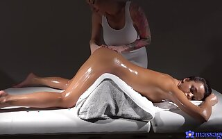 Top-tier lesbian massage with Kayla Callow coupled with Erica Treacherous