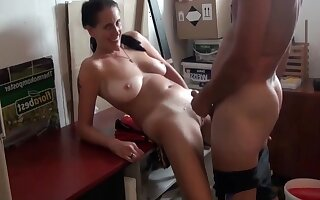 Hot German Milf With Big Saggy Tits With Neighbor In Garage