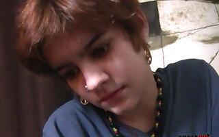 Teenage Nympho Gives Nervous Nerd A CFNM Handjob