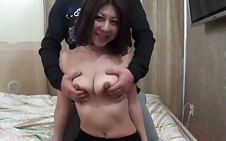 Trimmed pussy Japanese become man Junko gets fingered and fucked good