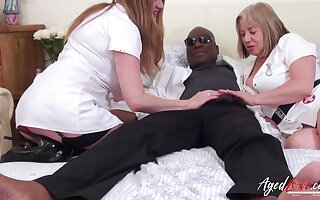 Interracial hardcore sex with one black handy stud added to two horny the man matured ladies