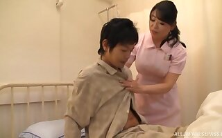 Asian nurse drops her tights to ride a patient's stiff dick
