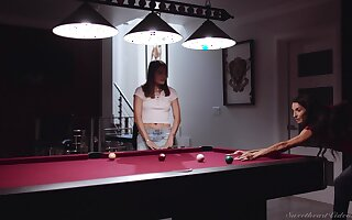 Skinny lesbo models Adria Rae coupled with Silvia Saige lick each other