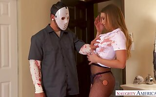 Horny masked robber is shocked as A he gets a nice blowjob from Britney Amber