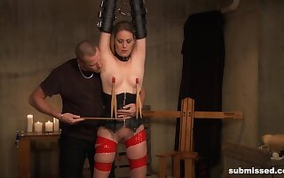 Submissive blonde gets clamped and all round fucked