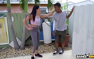 Hot ass model Sheena Ryder does yoga and gets fucked by a black perv