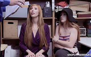 Red haired stepmom and stepdaughter are punished for swiping