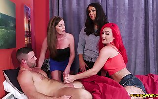 Naughty partition Holly Kiss and her friends drag inflate one wide-ranging cum heater