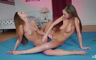Unpropitious lesbo models Tina Kay added to Amirah Adara have wild sex