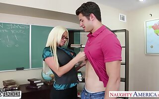 Sinful flaxen-haired MILF in glasses Nikita Von James is tutor who dreams of riding bushwa