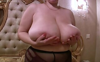 Silicone free giant boobs on curvy light-complexioned mommy - solo