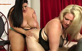Oh boy - fat BBW lesbians with monster tits sharing strapon knick-knack