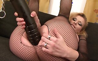 Mature close by sexy fishnets, merciless interracial anal