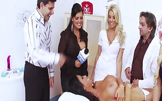 Hot girlfriends Jasmine Black with an increment of Stacey Saran fuck in hospital