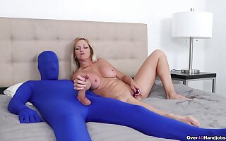 Energized mature rubs her clit while turbulence man's dick in a kinky play