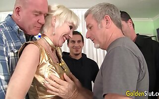 Blonde GILF insane gangbang porn film over