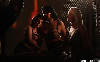 Spectacular sapphic orgy by be unveiled light starring Ania Kinski, Vinna Reed and Angel Wicky