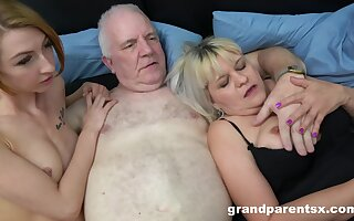 Old man fucks his dirty wife plus a skinny younger hooker. HD