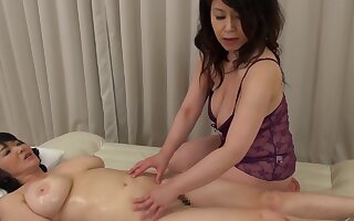 Two Asian matures go away from their clothes to try a kinky lesbian sex