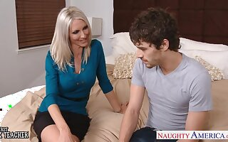 Gorgeous chubby breasted tow-haired MILF Emma Starr fucks sideways hard