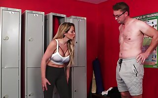 Curvy doll tries a big chunk of unearth down at the lockers