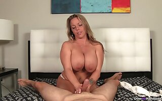 Insolent mature filmed shortly giving handjob increased by undressing