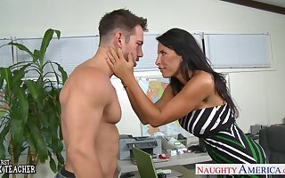 Crestfallen busty MILFie boss is brutally fucked missionary right on the table
