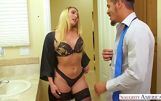 Down in the mouth blonde babe in black tights kisses dude before giving nice head