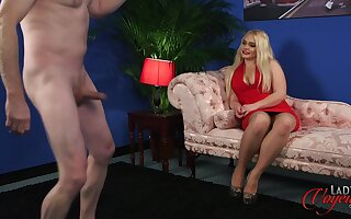 Busty blonde model Steph Lockhart watches a denude man spasmodical off