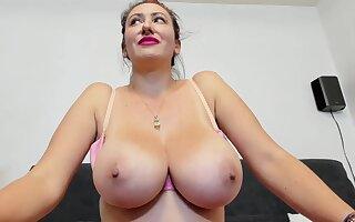 Lucky Amateur webcam model with monster tits teasing go-go