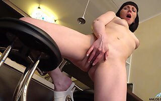 Horny mature Reddish Despina pleasures her cravings in rub-down the kitchen