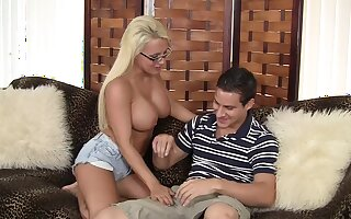Busty blonde MILF Jacky Gaiety sucks a dick gets fucked balls yawning chasm