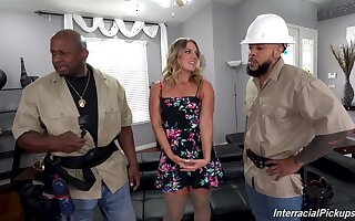 Two black dudes team up to fuck all holes of horny Candice Dare