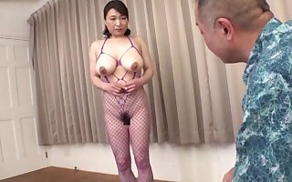 Hot busty Japanese mature in home XXX action