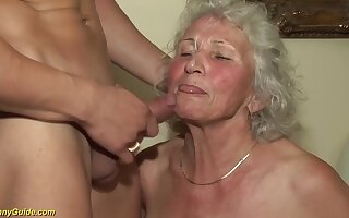 Broad in the beam natural boobs 77 years old granny gets extreme rough Broad in the beam weasel words fucked by the brush toyboy