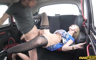 Rough sex on the back seat for a busty blonde on fire