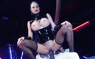 Busty mistress rides her male slave until exhaustion