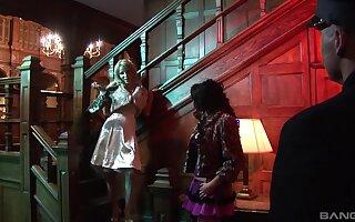 Group sex scene with horny pornstars Carolina De Lys and Carmel Moore