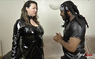 Busty mature picked by horny black guy and fucked hard interracial way