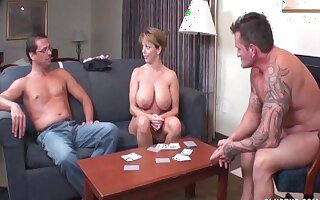 Big boobs slut gets naked and strokes a dick of her partner