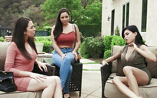 Ember Snow invited over her best friends as a surprise for her hubby