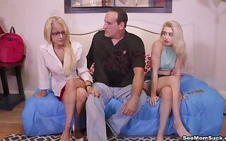 Old guy gets a double blowjob by Tabatha Jordan & Anastasia Knight