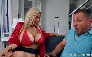 Big fake tits blonde pornstar Amber Alena fucked by a big dick