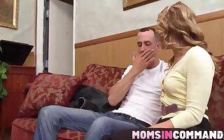 Hot big ass blonde MILF sharing a big dick with horny teen