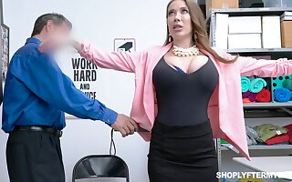 Giant breasted slutty MILF Bianca Burke is bent over and fucked doggy by cop